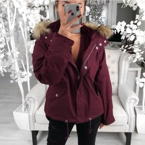 River Hooded Parka Coat in Cranberry w/ Faux Fur